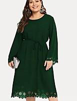 Недорогие -Жен. Классический С летящей юбкой Платье - Однотонный, Аппликация Средней длины