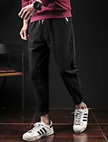 Недорогие -Муж. Гарем Сплетенные брюки Серый Хаки Темно-синий Виды спорта Сплошной цвет Хлопок Брюки Тренировка в тренажерном зале Большие размеры Спортивная одежда Дышащий Быстровысыхающий Впитывает пот и влагу