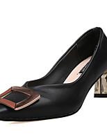 Недорогие -Жен. Полиуретан Весна Минимализм Обувь на каблуках На толстом каблуке Черный / Миндальный