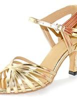 Недорогие -Жен. Обувь для латины Искусственная кожа На каблуках Планка Тонкий высокий каблук Персонализируемая Танцевальная обувь Золотой
