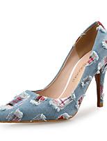 Недорогие -Жен. Деним Весна & осень Милая Обувь на каблуках На шпильке Заостренный носок Светло-синий / Контрастных цветов
