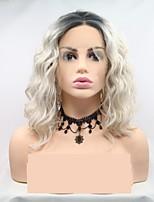 Недорогие -Синтетические кружевные передние парики Глубокий курчавый Черный Стрижка каскад Серый 130% Человека Плотность волос Искусственные волосы 12 дюймовый Жен. Женский / Волосы с окрашиванием омбре
