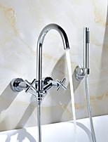 Недорогие -Смеситель для душа / Смеситель для ванны - Современный Хром На стену Медный клапан Bath Shower Mixer Taps