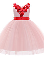 cheap -Princess Dress Flower Girl Dress Girls' Movie Cosplay A-Line Slip Cosplay Pink / Beige Dress Halloween Carnival Masquerade Tulle Polyester