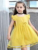 Недорогие -Дети Девочки Однотонный Сетка Платье Желтый