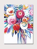 Недорогие -Hang-роспись маслом Ручная роспись - Абстракция Цветочные мотивы / ботанический Современный Modern Включите внутренний каркас