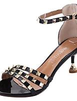 Недорогие -Жен. Полиуретан Весна На каждый день Обувь на каблуках На каблуке-рюмочке Заклепки Черный / Бежевый / Коричневый
