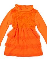 Недорогие -Дети Девочки Классический / Симпатичные Стиль Однотонный Кружевная отделка Длинный рукав Выше колена Хлопок / Полиэстер Платье Оранжевый