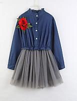 Недорогие -Дети Девочки Однотонный Сетка Длинный рукав Средней длины Хлопок Платье Синий