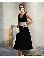 Недорогие -Жен. А-силуэт Платье - Контрастных цветов Средней длины