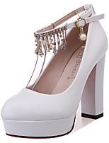 Недорогие -Жен. Полиуретан Весна Милая Обувь на каблуках На толстом каблуке Стразы Белый / Черный