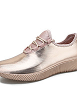 cheap -Women's Trainers / Athletic Shoes 2020 Summer / Fall Wedge Heel Pointed Toe Casual Sweet Athletic Solid Colored Faux Leather Walking Shoes Black / Gold / Silver