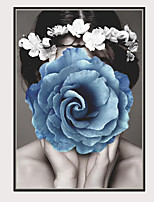 Недорогие -С картинкой Отпечатки на холсте - Модерн Гламурная девушка Modern
