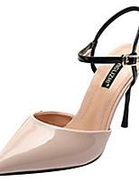 Недорогие -Жен. Полиуретан Весна Минимализм Обувь на каблуках На шпильке Заостренный носок Черный / Миндальный / Контрастных цветов