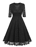 Недорогие -Жен. Кружева А-силуэт Платье Глубокий V-образный вырез Средней длины