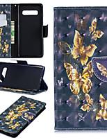 Недорогие -Кейс для Назначение SSamsung Galaxy Galaxy S10 Plus / Galaxy S10 E Кошелек / Бумажник для карт / со стендом Чехол Бабочка Твердый Кожа PU для S9 / S9 Plus / S8 Plus