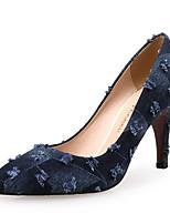 Недорогие -Жен. Деним Весна & осень Милая Обувь на каблуках На шпильке Заостренный носок Темно-синий / Контрастных цветов