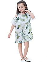 Недорогие -Дети Девочки Богемный Цветочный принт С кисточками С короткими рукавами До колена Полиэстер Платье Синий