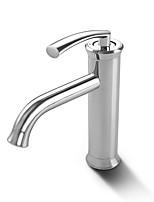 Недорогие -Ванная раковина кран - Водопад / Широко распространенный Хром По центру Одной ручкой одно отверстиеBath Taps