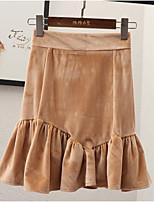 Недорогие -женские юбки выше колена - однотонные