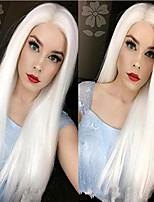 Недорогие -Синтетические кружевные передние парики Естественные прямые Белый Стрижка каскад Белый 130% Человека Плотность волос Искусственные волосы 24 дюймовый Жен. Женский Белый Парик Длинные Лента спереди