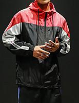 Недорогие -Муж. Вырез-хомут Front Ziper Ветровка Черный Синий Виды спорта Сплошной цвет Жакет Толстовка Бег Длинный рукав Большие размеры Спортивная одежда Легкость С защитой от ветра Устойчивость к УФ