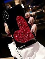 Недорогие -Кейс для Назначение Apple iPhone XS Max / iPhone 6 Стразы Кейс на заднюю панель С сердцем / Стразы Твердый Акрил для iPhone XS / iPhone XR / iPhone XS Max