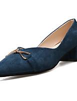 Недорогие -Жен. Полиуретан Весна Минимализм Обувь на каблуках На толстом каблуке Заостренный носок Черный / Бежевый / Синий