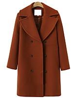 Недорогие -Жен. Повседневные Длинная Пальто, Однотонный Европейский воротничок Длинный рукав Хлопок Черный / Красный / Хаки M / L / XL