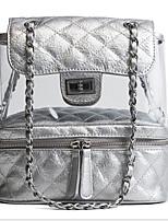 Недорогие -Жен. Мешки PU рюкзак Брошь, украшенная кристаллами Черный / Серебряный / Розовый