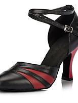 Недорогие -Жен. Обувь для модерна Кожа На каблуках Планка Толстая каблук Персонализируемая Танцевальная обувь Черный