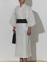 Недорогие -Взрослые Муж. Кимоно Кимоно Jinbei Махровый халат Назначение Halloween На каждый день фестиваль Хлопок Банный халат