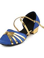 Недорогие -Девочки Обувь для модерна Сатин На каблуках Толстая каблук Танцевальная обувь Черный / Красный / Синий
