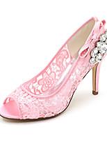 cheap -Women's Wedding Shoes Spring / Summer Stiletto Heel Peep Toe Minimalism Wedding Party & Evening Rhinestone / Bowknot Solid Colored Satin / Mesh White / Black / Pink