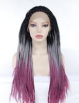 Недорогие -Синтетические кружевные передние парики Прямой / переплетенный Черный Средняя часть Черныйлиловый Искусственные волосы 24 дюймовый Жен. Для вечеринок / синтетический / Легко туалетный / Фиолетовый