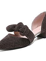 Недорогие -Жен. Полиуретан Весна Милая Обувь на каблуках Блочная пятка Заостренный носок Бант Черный / Кофейный / Розовый