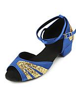 Недорогие -Жен. Обувь для латины Сатин На каблуках Толстая каблук Танцевальная обувь Черный / Красный / Синий