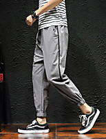Недорогие -Муж. Гарем Сплетенные брюки Черный Кофейный Серый Виды спорта Сплошной цвет Хлопок Брюки Нижняя часть Спорт в свободное время Бег Фитнес Большие размеры Спортивная одежда / Слабоэластичная
