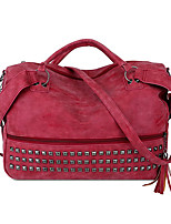 cheap -Women's Rivet / Tassel PU Top Handle Bag Solid Color Blushing Pink / Red / Gray