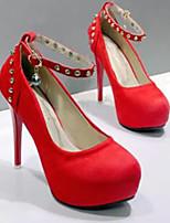 Недорогие -Жен. Замша Весна Обувь на каблуках На шпильке Черный / Красный