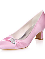 cheap -Women's Wedding Shoes Spring / Summer Block Heel Pointed Toe Minimalism Wedding Party & Evening Rhinestone Solid Colored Satin White / Black / Purple