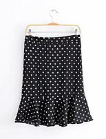Недорогие -женские юбки длиной до колена - горошек