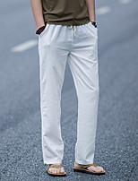 Недорогие -Муж. Кулиска Сплетенные брюки Серый Хаки Темно-синий Виды спорта Сплошной цвет Хлопок Брюки Нижняя часть Спорт в свободное время Бег Фитнес Большие размеры Спортивная одежда / Слабоэластичная