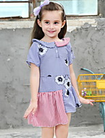 Недорогие -Дети Девочки Контрастных цветов Полиэстер Платье Синий