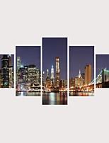 Недорогие -С картинкой Роликовые холсты Отпечатки на холсте - Домики Архитектура Современный Modern 5 панелей