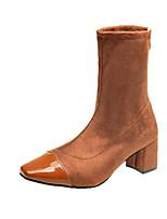 Недорогие -Жен. Замша Осень Ботинки На толстом каблуке Черный / Коричневый