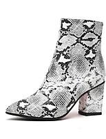 Недорогие -Жен. Кожа Наступила зима На каждый день Ботинки На толстом каблуке Заостренный носок Ботинки Серый