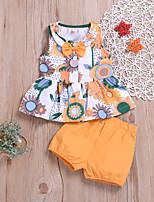 Недорогие -малыш Девочки Активный / Классический С принтом С принтом Без рукавов Обычный Обычная Хлопок Набор одежды Оранжевый