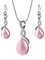 cheap -Women's Crystal Jewelry Set Drop Earrings Pendant Necklace Briolette Infinity Pear Stylish Classic Elegant Opal Earrings Jewelry Black / White / Pink For Party Gift Daily 1 set