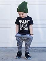 Недорогие -малыш Мальчики На каждый день / Классический С принтом С принтом С короткими рукавами Обычный Хлопок / Спандекс Набор одежды Черный